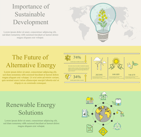 sustainable development: vector set of flat design concepts for web banners and print materials of  ecology, pollution, energy and sustainable development themes