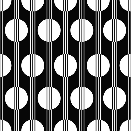 vector illustration of seamless black and white pattern in art deco style