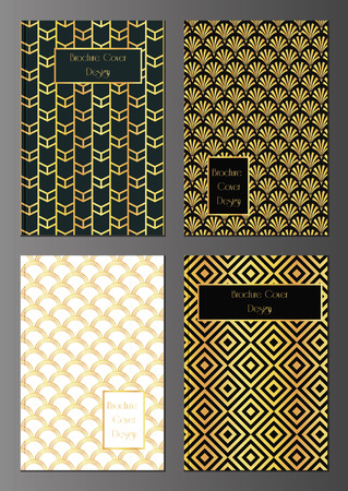 vector set of brochure, flyer or invitation card design template in art deco style