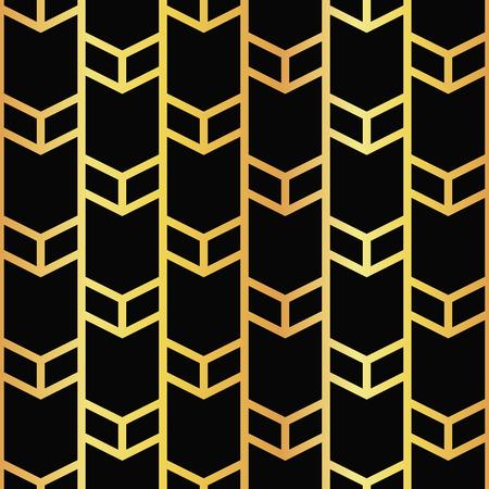 artdeco: vector illustration of golden seamless pattern in artdeco style Illustration