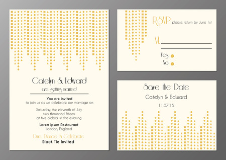 vector set of wedding invitation cards in artdeco style