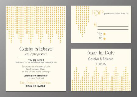 artdeco: conjunto de vectores de tarjetas de invitaci�n de boda en estilo artdeco