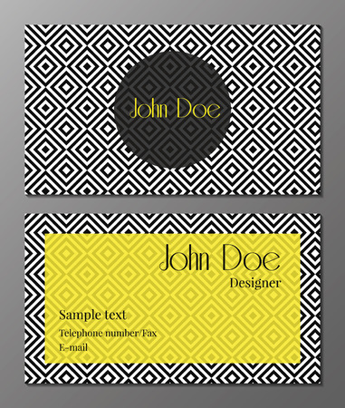 vector illustration of business card with seamless black and white pattern in art deco style Vector