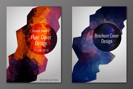 Vector set of abstract brochure and flyer covers in polygonal style Vector