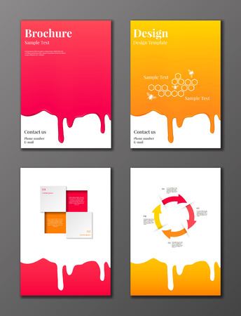 Vector set of brochures and flyers decorated with rose syrup and honey flowing down and infographic elements
