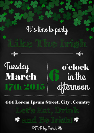 Vector of vintage Saint Patricks Day invitation card design template