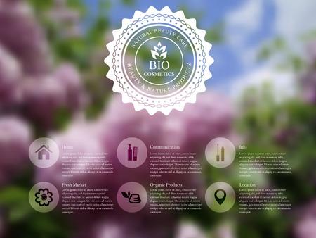 Illustrazione vettoriale di web e template interfaccia mobile con etichetta distintivo e fiori lilla. Prodotti cosmetici biologici offuscata sito web design.