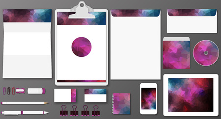 Vector illustration of stationary or branding identity mock up with polygonal style Vector