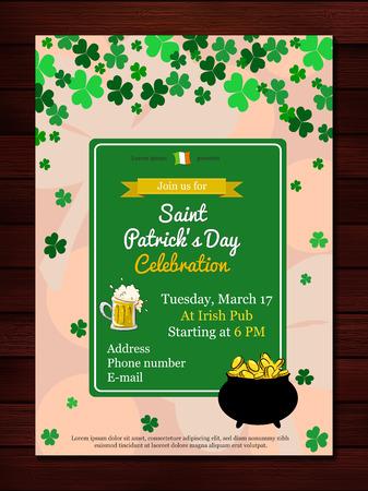 st patricks party: Vector illustration of  Saint Patricks Day Invitation or flyer