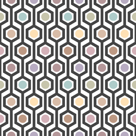 vector illustration of seamless hexagon pattern in art deco style Illustration