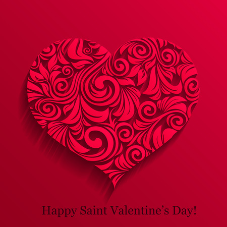 vector illustration of valentine paper curly heart