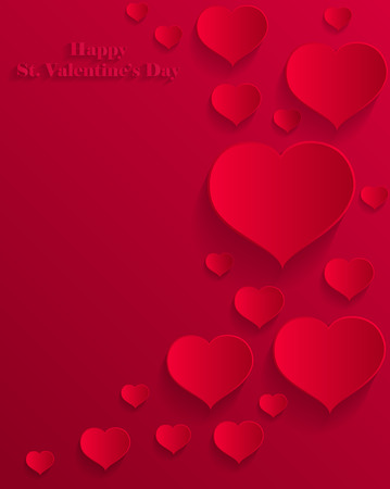 st  valentine's day: Vector illustration of abstract St. Valentines Day greeting  card decorated with paper cut hearts