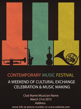 Vector illustration of Vintage Music Festival Flyer or brochure cover Vettoriali