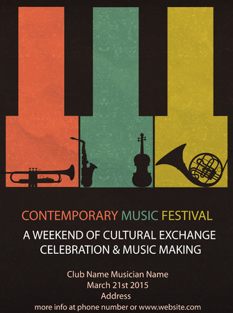 Vector illustration of Vintage Music Festival Flyer or brochure cover Illustration