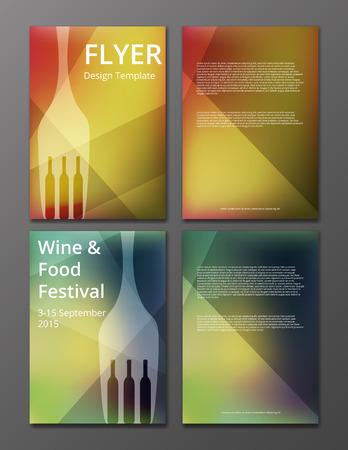 ワインのチラシやパンフレットのカバーのベクトル イラスト 写真素材 - 36619818