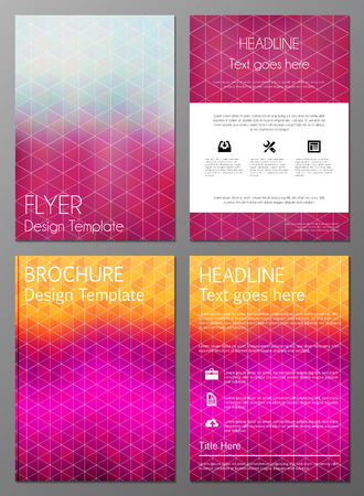 Vector illustration of brochure, booklet, annual report or flyer covers design templates with colorful geometric triangular backgrounds Vector
