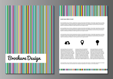 cover page: Vector illustration of brochure, booklet, annual report or flyer covers design templates with colorful minimalistic pattern