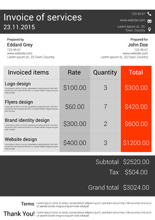 Customizable Invoice form template design in  modern style