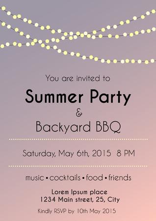 夏のパーティの招待状のベクトル イラスト