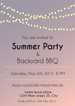 vector illustration of summer party invitation