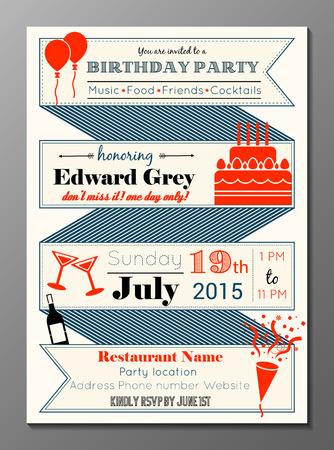 Vector illustratie van vintage verjaardagsfeestje uitnodigingskaart
