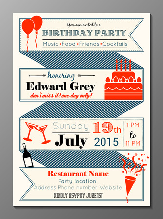 Vector illustration of vintage birthday party invitation card