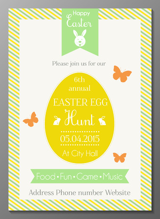 Vector illustration of Easter egg hunt party invtation card 일러스트