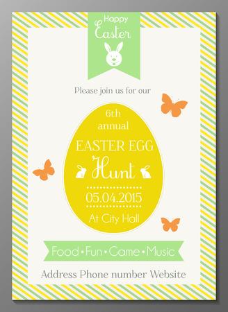 Vector illustration of Easter egg hunt party invtation card Illustration