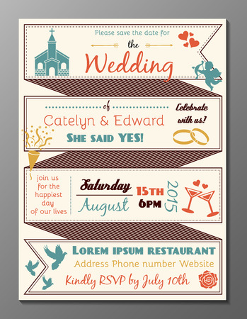 Vector illustration of vintage wedding party invitation card and flyer Illustration