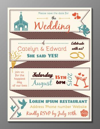 Vector illustration vintage fête de mariage carton d'invitation et de circulaires Vecteurs