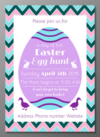 Vector illustration of Easter Egg Hunt party invitation card