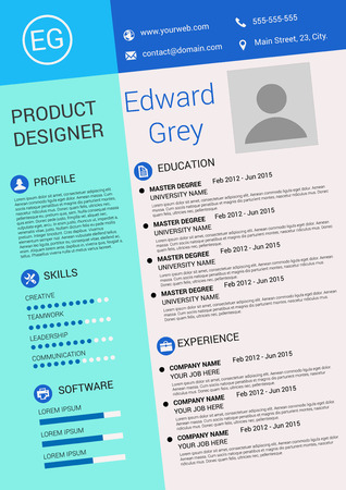 Vector illustration of artistic resume design template 일러스트