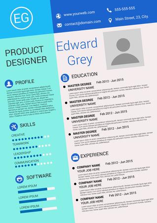Vector illustration of artistic resume design template Illustration