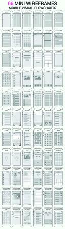 Vector set van 66 gsm wireframes, user interface kit voor mobiele applicatie-prototype met flowcharts Stock Illustratie