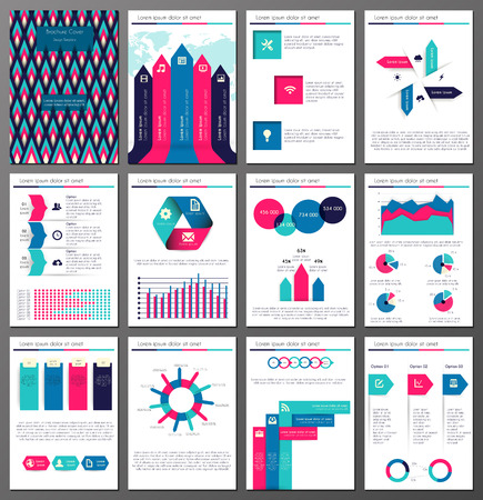 annual report: Set of twelve pages of  infographic  brochures and flyers  for business data visualization, websites, applications, marketing, print, presentation etc Illustration