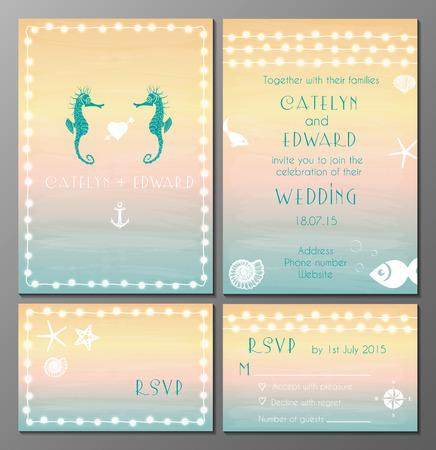 Vector illustratie van de maritieme stijl bruiloft uitnodiging en rsvp kaarten