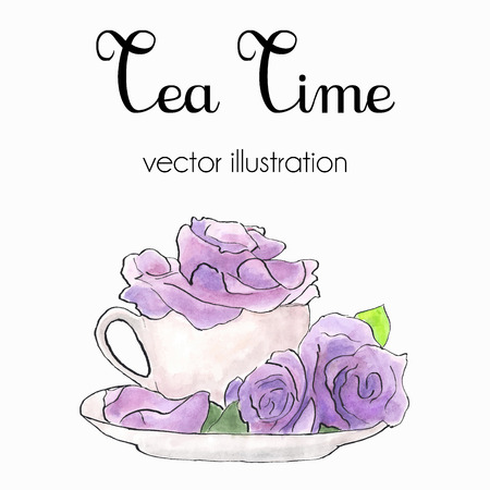 blossom time: Vector  illustration of violet roses in a cup made in watercolor and ink in shabby chic style. Tea time card