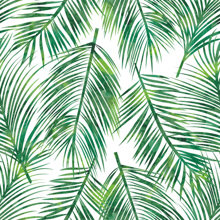 Vector illustration of  green palm tree leaf seamless  pattern Çizim