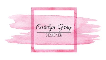 colores pastel: Ilustración vectorial de logotipo de color rosa para tarjetas de visita. Dibujado a mano elementos de acuarela