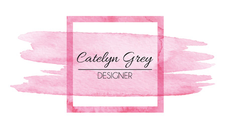 Vector illustration of pink logotype for business cards. Hand drawn watercolor elements Çizim