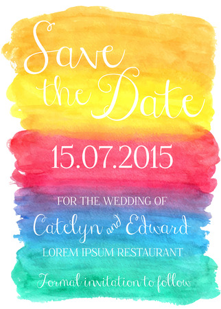 Vector illustration of save the date card on watercolor background
