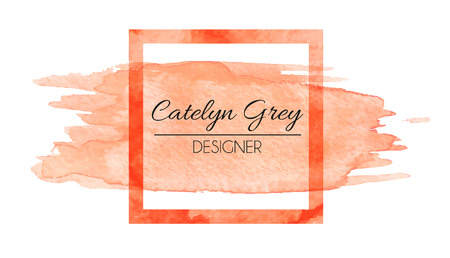 Vector illustration of orange logotype for business cards. Hand drawn watercolor elements