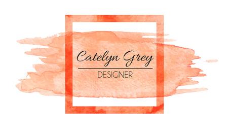 Vector illustratie van oranje logo voor visitekaartjes. Hand getekende aquarel elementen Stock Illustratie