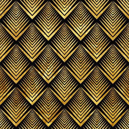 Vector illustratie van gouden naadloze patroon in art deco-stijl Stock Illustratie