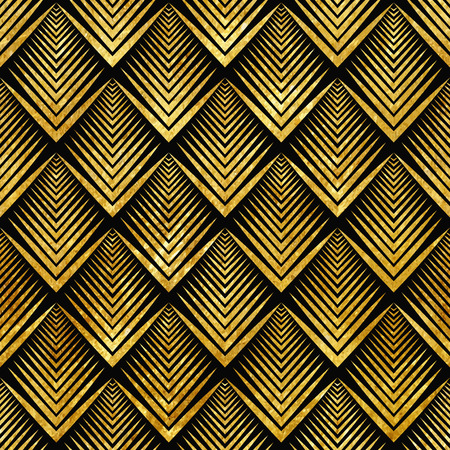 geometric shapes: Vector illustration of golden seamless pattern in art deco style