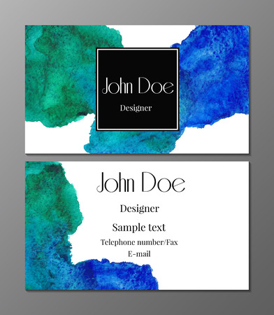 cutaway drawing: Vector illustration of business card design template with watercolor splash
