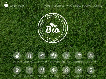 Vector illustratie van web en mobiele interface template. Header ontwerp met onscherpe achtergrond. Denk groen. Ecologie hernieuwbare energie en thema's bescherming van het milieu. Stock Illustratie