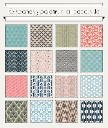 Vector set of seamless patterns in art deco vintage style Vector