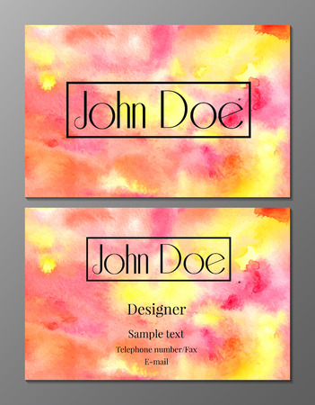 cutaway drawing: Vector illustration of business card design template with watercolor bright texture Illustration