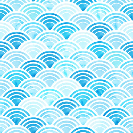 Vector illustration of abstract geometric seamless pattern with blue watercolor circles Vectores